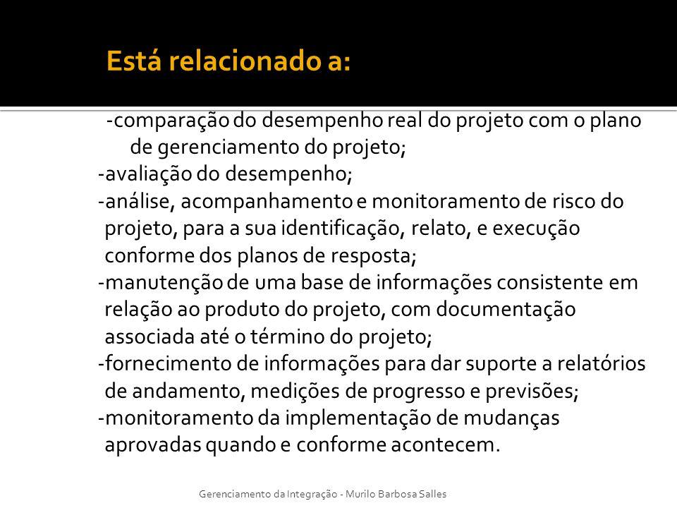 Está relacionado a: -comparação do desempenho real do projeto com o plano de gerenciamento do projeto;