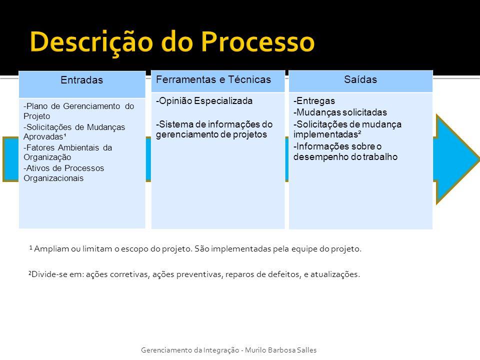 Descrição do Processo Entradas Ferramentas e Técnicas Saídas