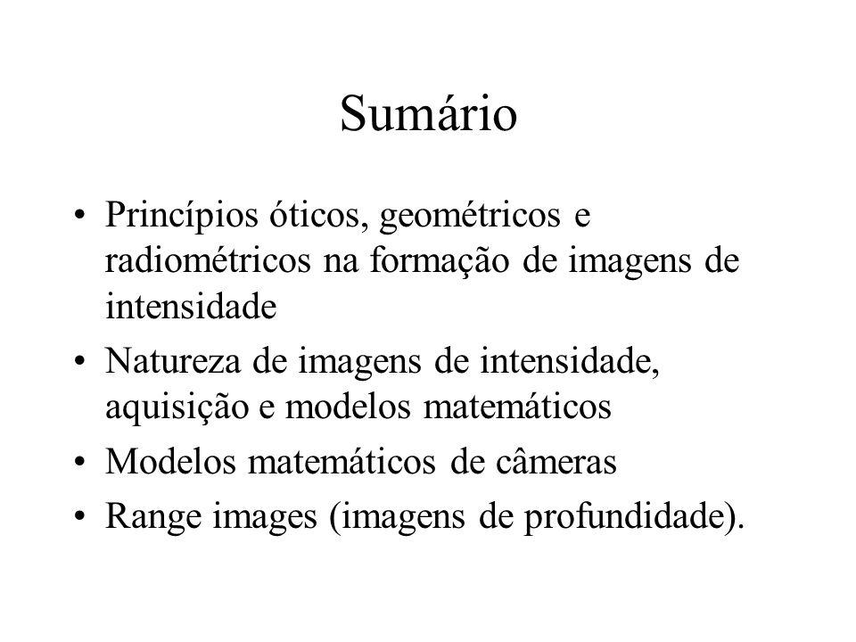 Sumário Princípios óticos, geométricos e radiométricos na formação de imagens de intensidade.