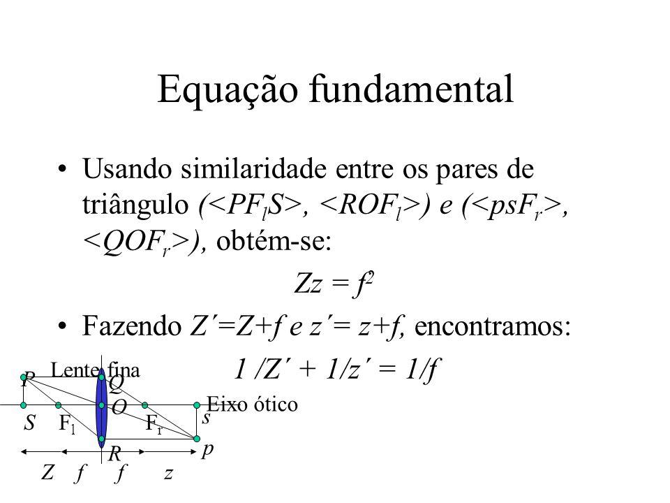Equação fundamental Usando similaridade entre os pares de triângulo (<PFlS>, <ROFl>) e (<psFr>, <QOFr>), obtém-se: