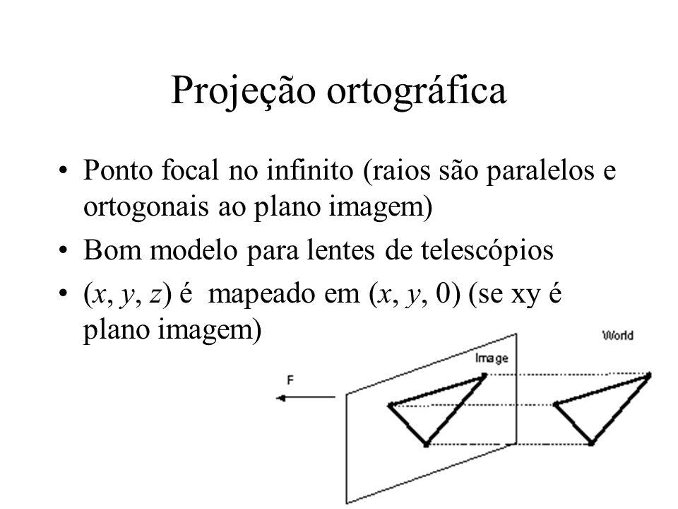 Projeção ortográfica Ponto focal no infinito (raios são paralelos e ortogonais ao plano imagem) Bom modelo para lentes de telescópios.