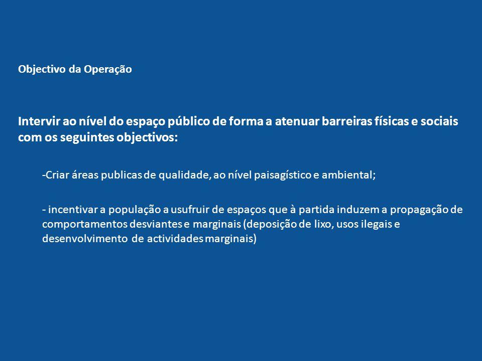 Objectivo da Operação Intervir ao nível do espaço público de forma a atenuar barreiras físicas e sociais com os seguintes objectivos: