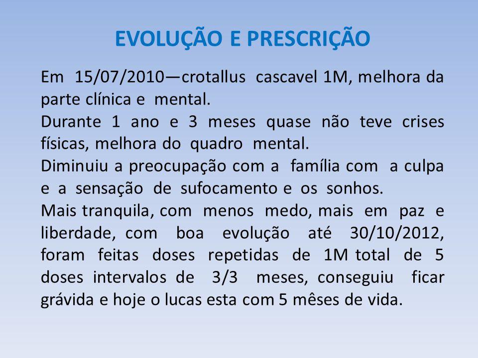 EVOLUÇÃO E PRESCRIÇÃO Em 15/07/2010—crotallus cascavel 1M, melhora da parte clínica e mental.
