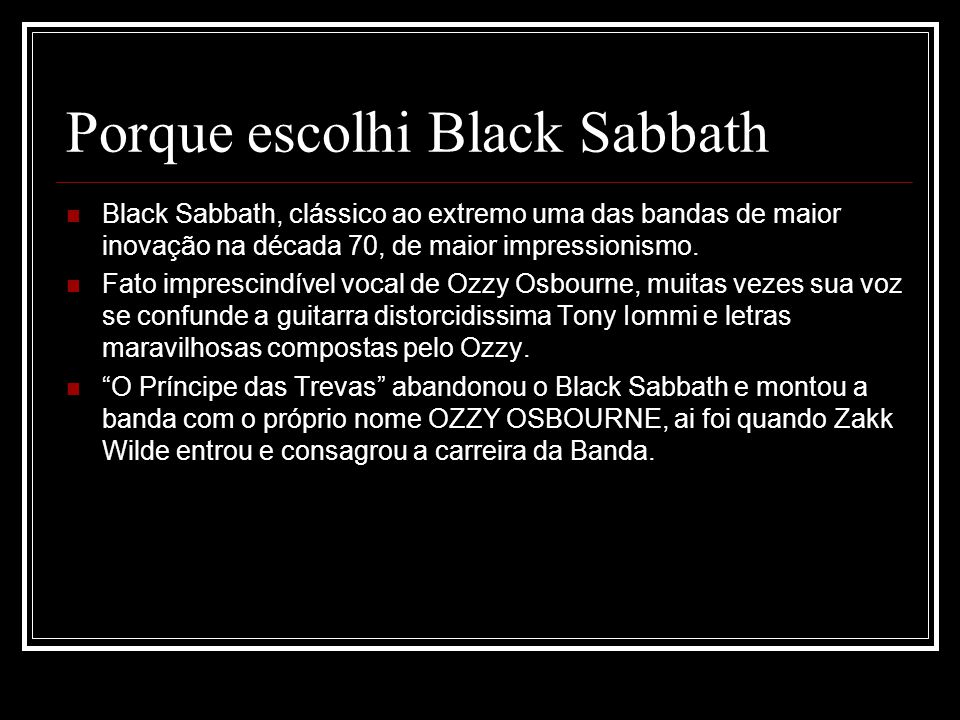 Porque escolhi Black Sabbath