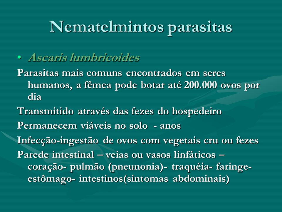 Nematelmintos parasitas