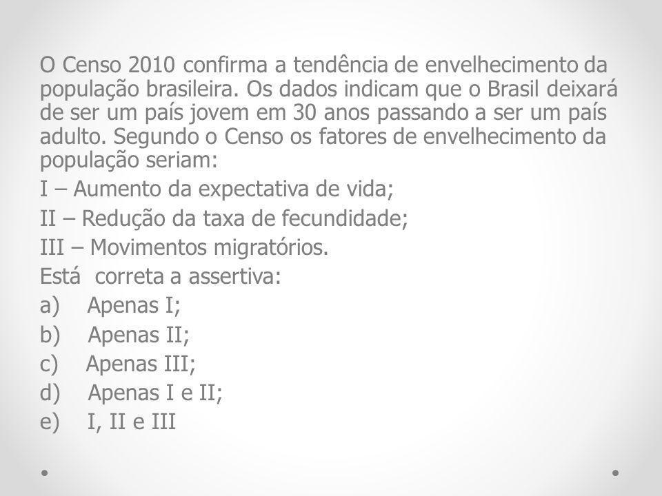 O Censo 2010 confirma a tendência de envelhecimento da população brasileira.