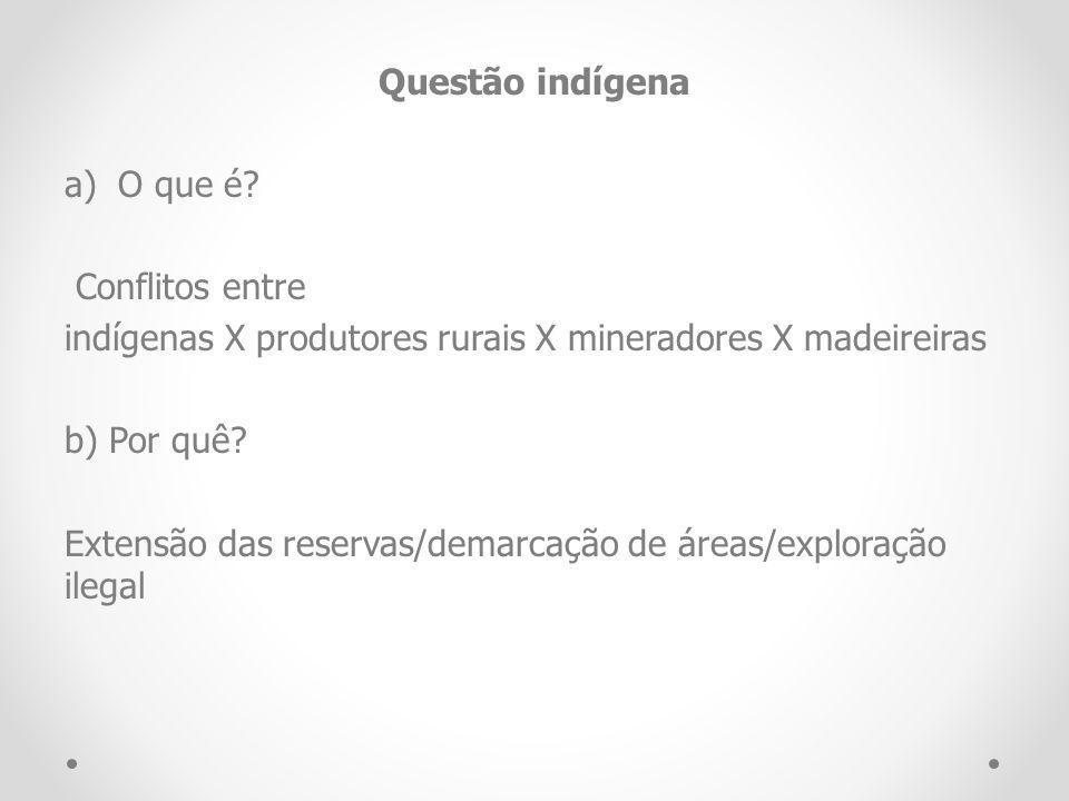 Questão indígena O que é Conflitos entre. indígenas X produtores rurais X mineradores X madeireiras.
