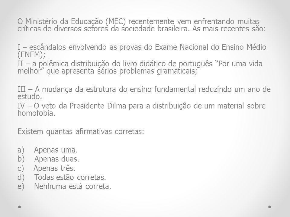 O Ministério da Educação (MEC) recentemente vem enfrentando muitas críticas de diversos setores da sociedade brasileira.