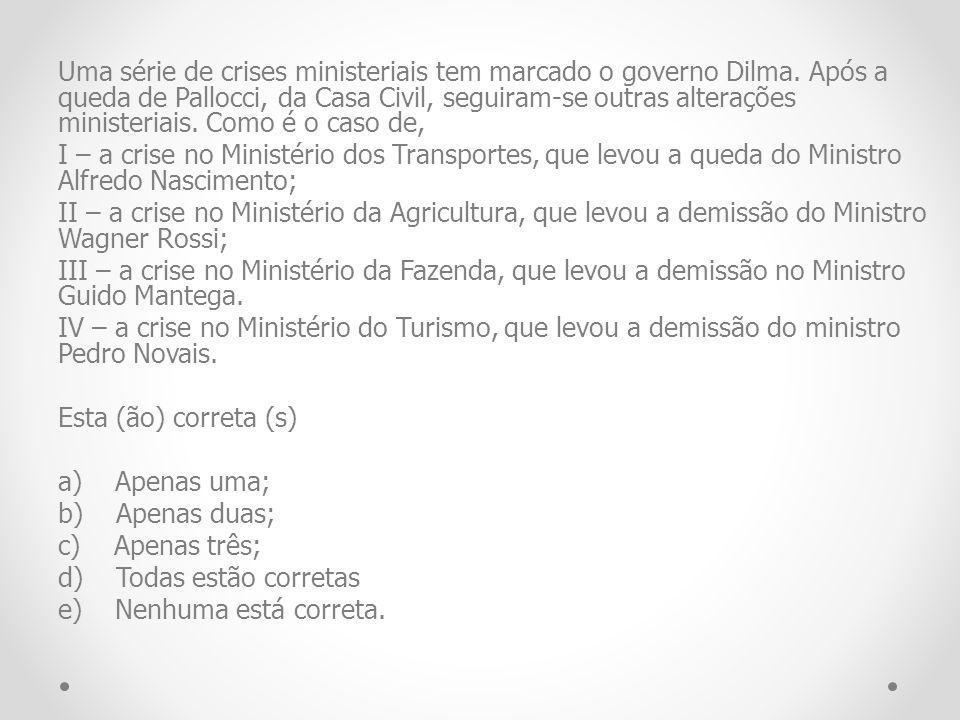 Uma série de crises ministeriais tem marcado o governo Dilma