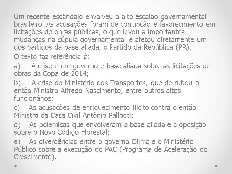 Um recente escândalo envolveu o alto escalão governamental brasileiro
