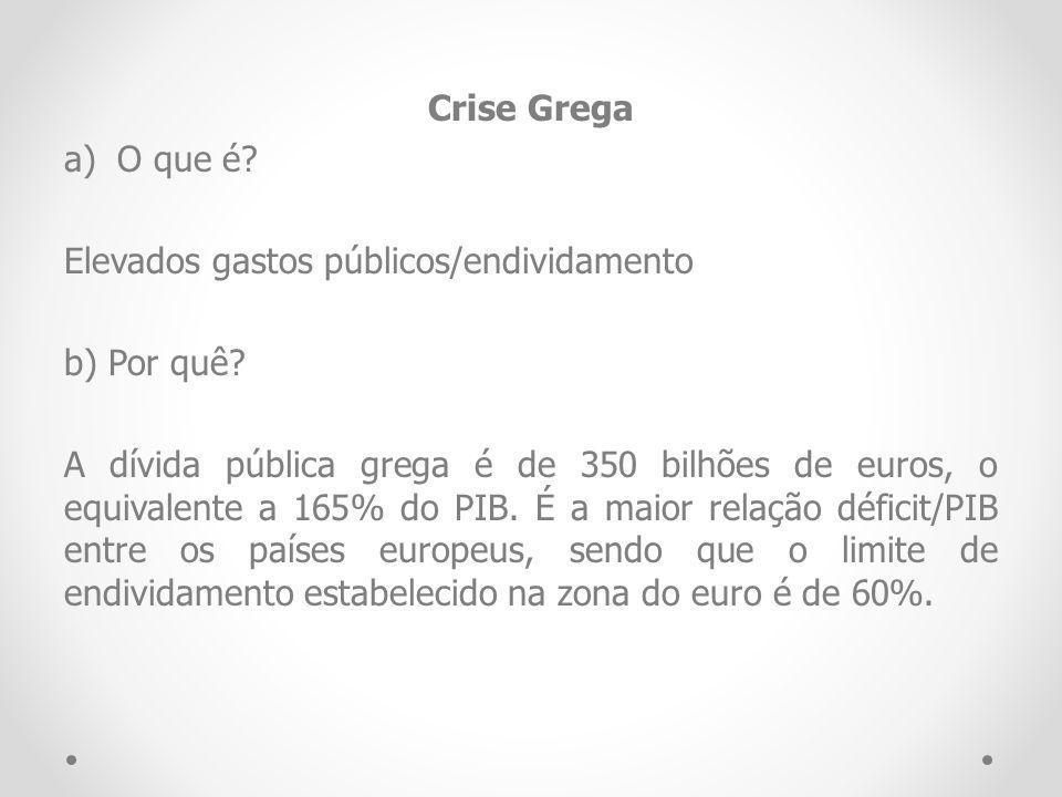Crise Grega O que é Elevados gastos públicos/endividamento. b) Por quê