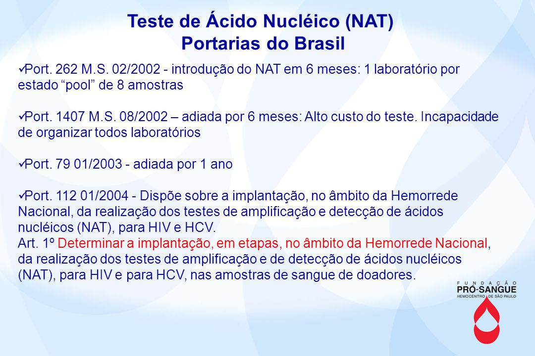 Teste de Ácido Nucléico (NAT) Portarias do Brasil