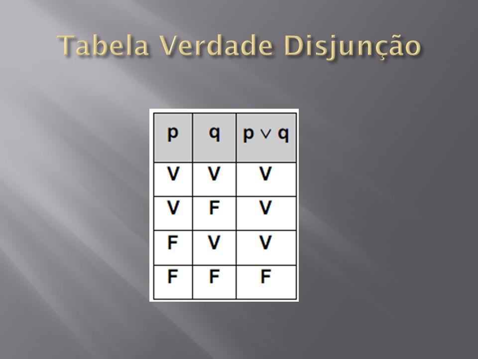 Tabela Verdade Disjunção