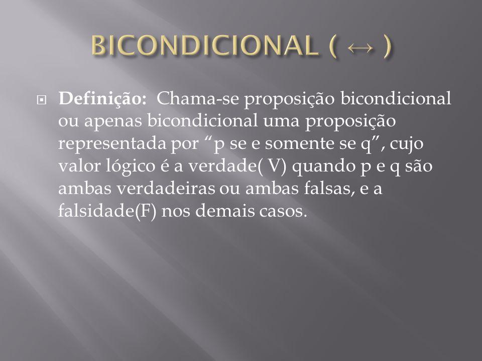 BICONDICIONAL ( ↔ )