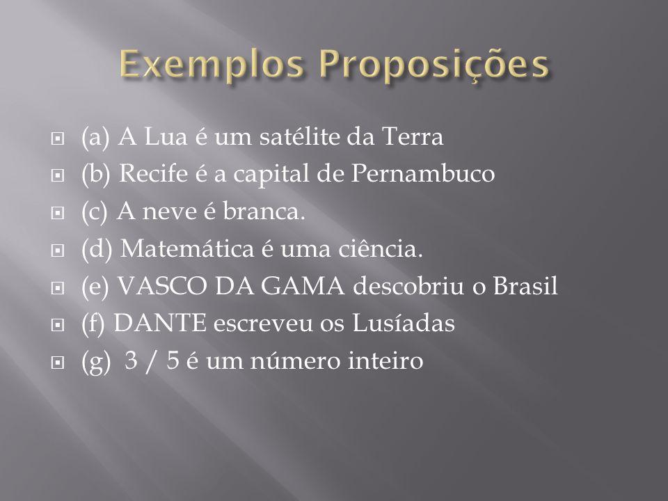 Exemplos Proposições (a) A Lua é um satélite da Terra