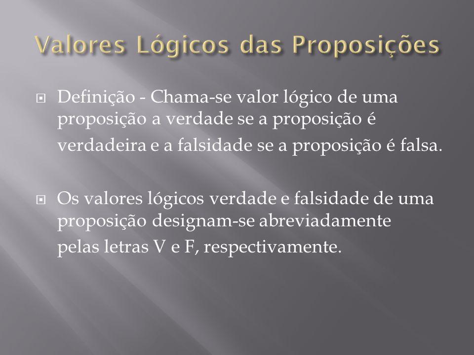 Valores Lógicos das Proposições