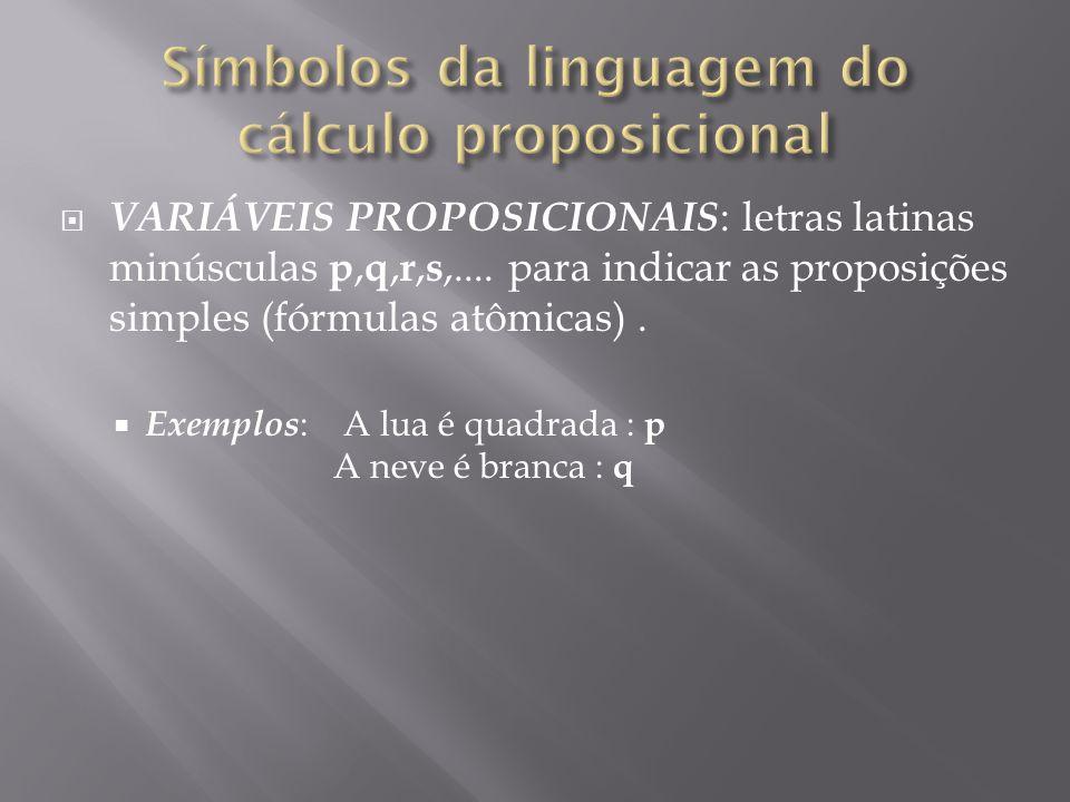 Símbolos da linguagem do cálculo proposicional