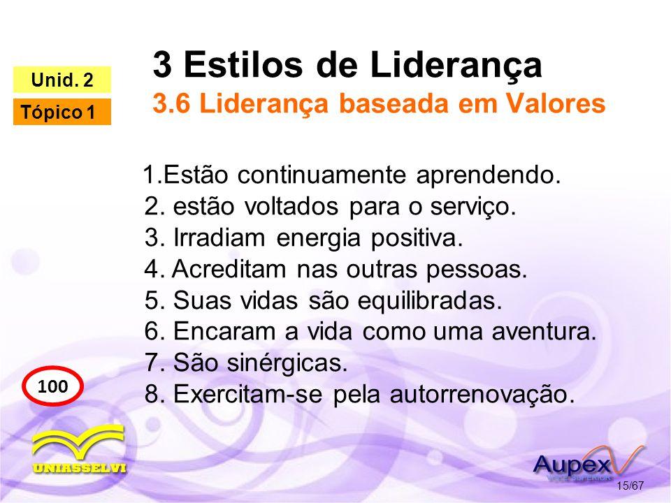 3 Estilos de Liderança 3.6 Liderança baseada em Valores