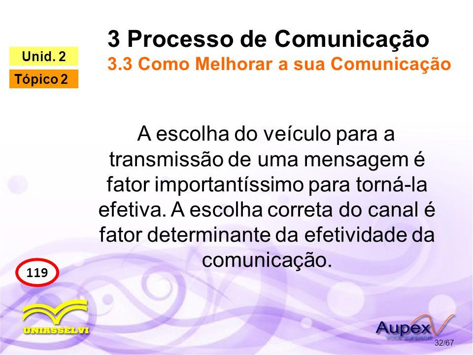 3 Processo de Comunicação 3.3 Como Melhorar a sua Comunicação
