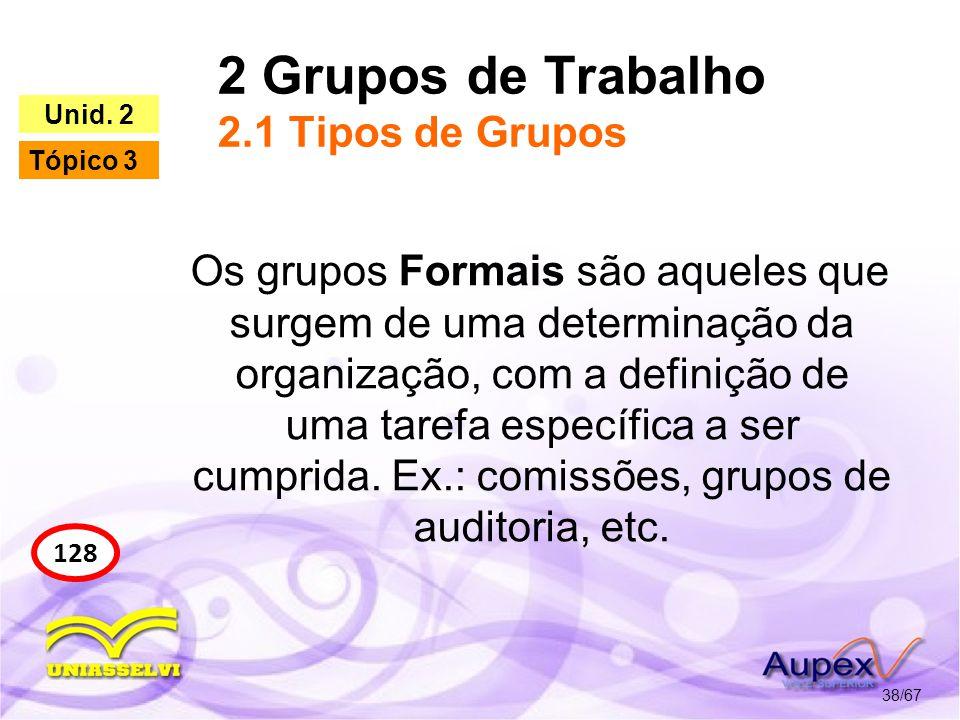 2 Grupos de Trabalho 2.1 Tipos de Grupos