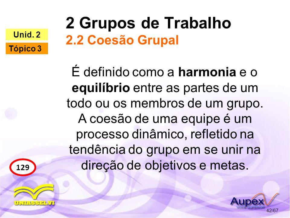 2 Grupos de Trabalho 2.2 Coesão Grupal