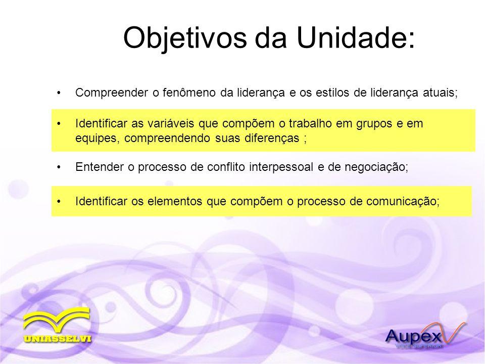 Objetivos da Unidade: Compreender o fenômeno da liderança e os estilos de liderança atuais;