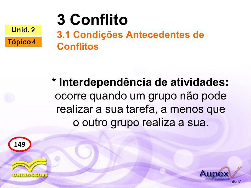 3 Conflito 3.1 Condições Antecedentes de Conflitos