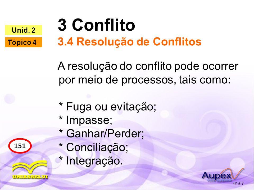 3 Conflito 3.4 Resolução de Conflitos