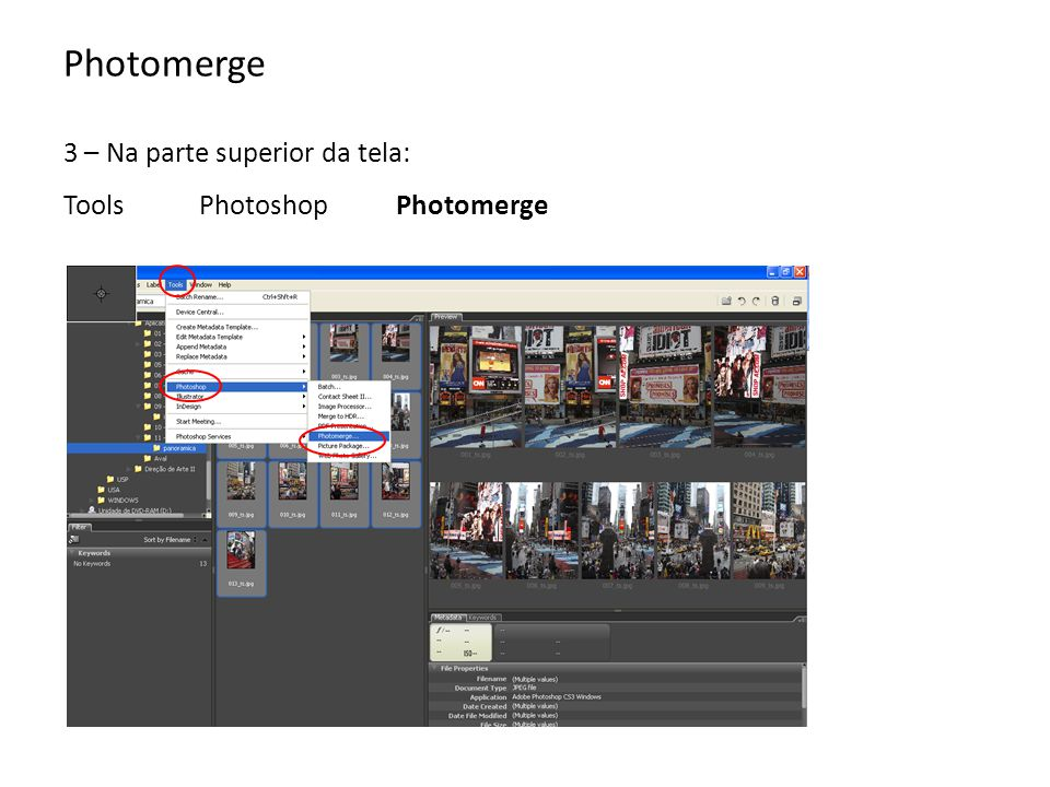 Photomerge 3 – Na parte superior da tela: Tools Photoshop Photomerge