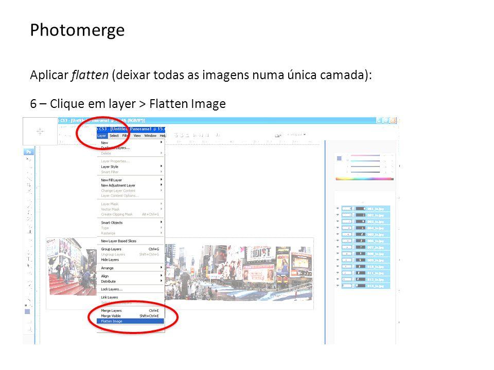 Photomerge Aplicar flatten (deixar todas as imagens numa única camada): 6 – Clique em layer > Flatten Image.