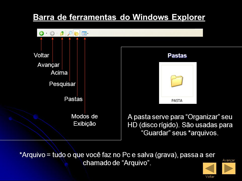 Barra de ferramentas do Windows Explorer