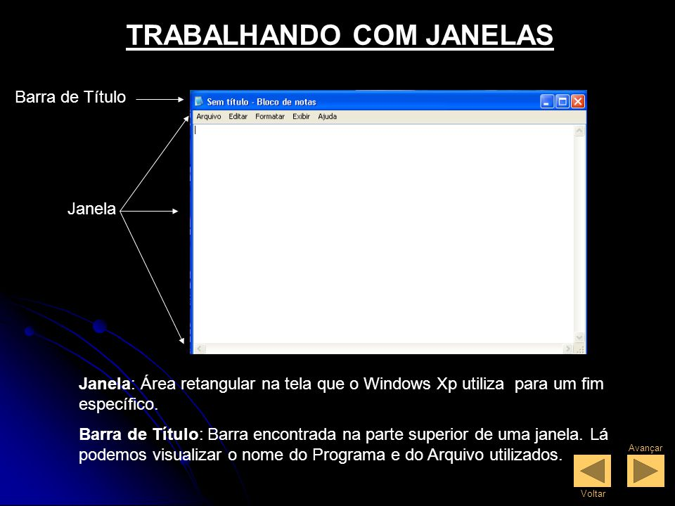 TRABALHANDO COM JANELAS