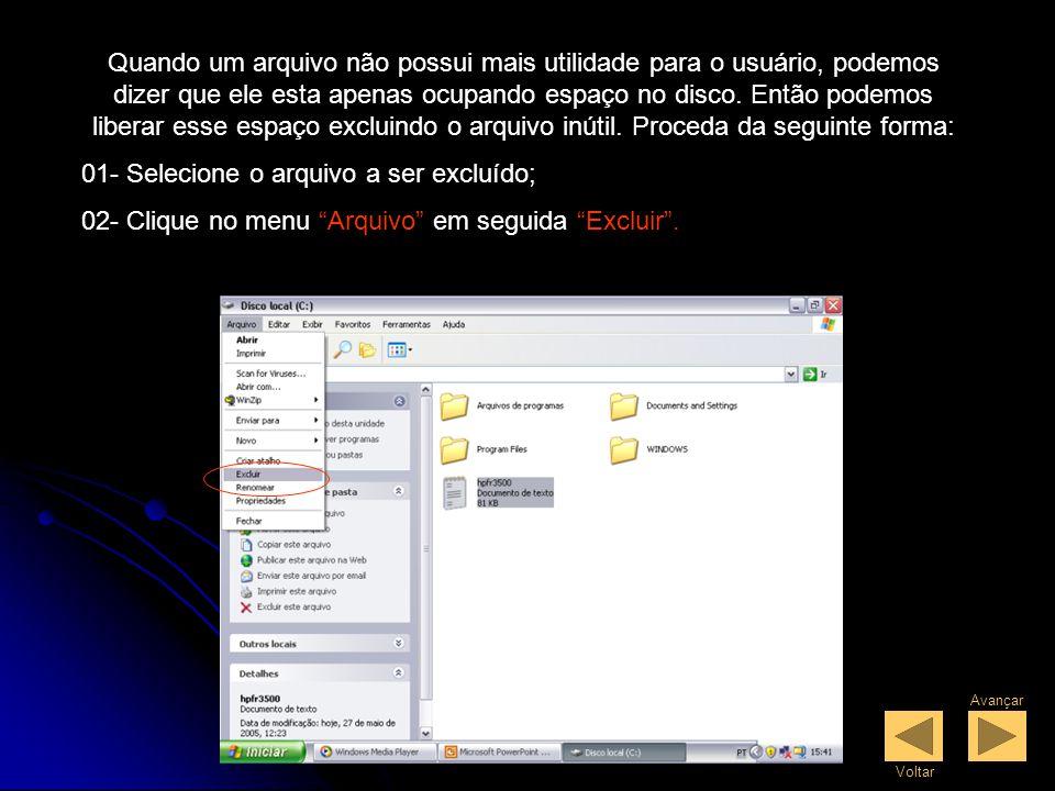 01- Selecione o arquivo a ser excluído;