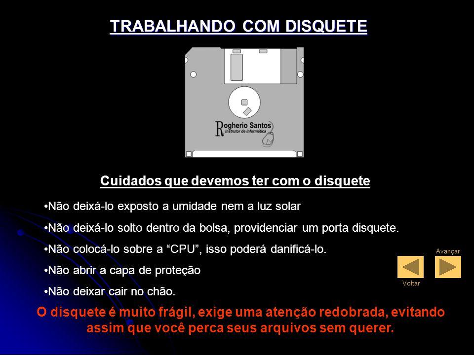 TRABALHANDO COM DISQUETE Cuidados que devemos ter com o disquete