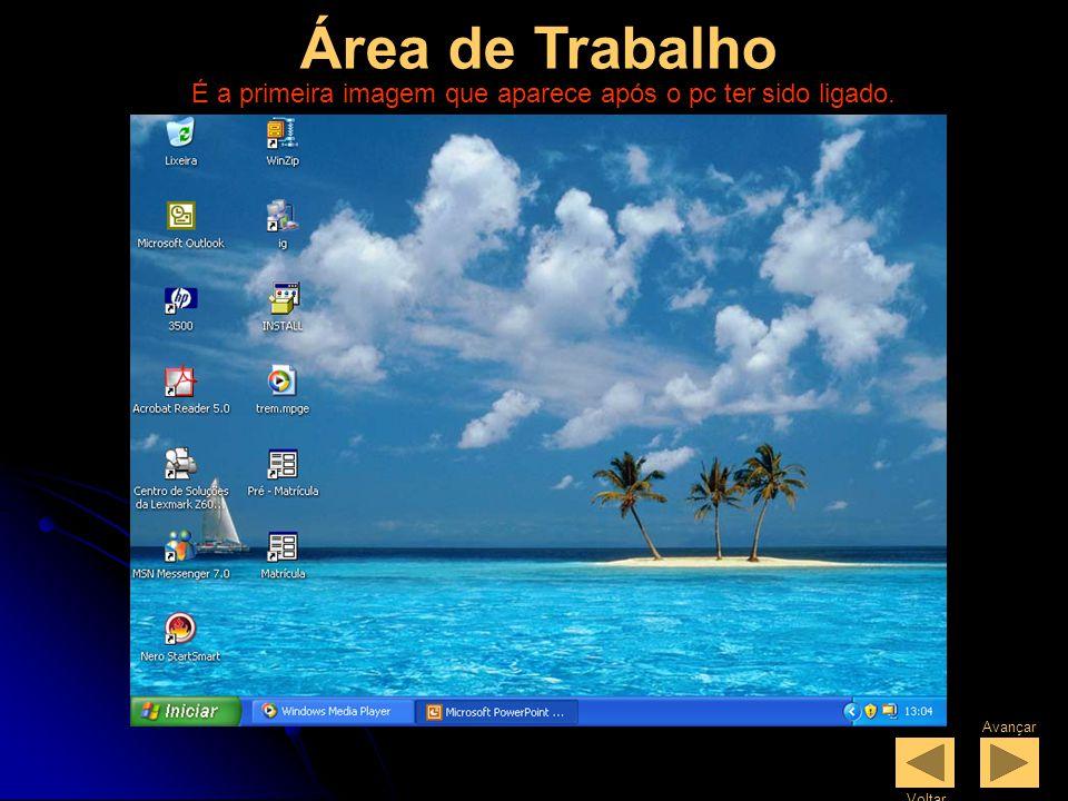 Área de Trabalho É a primeira imagem que aparece após o pc ter sido ligado. Avançar Voltar