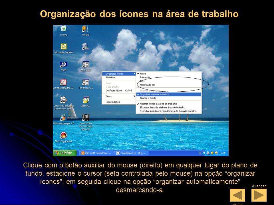 Organização dos ícones na área de trabalho