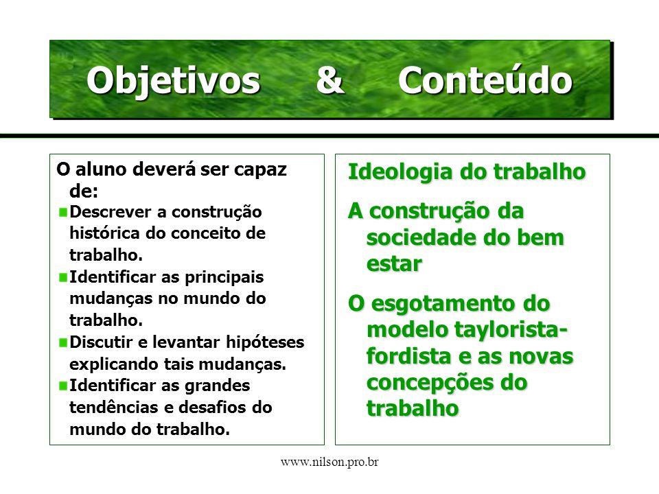 Objetivos & Conteúdo Ideologia do trabalho