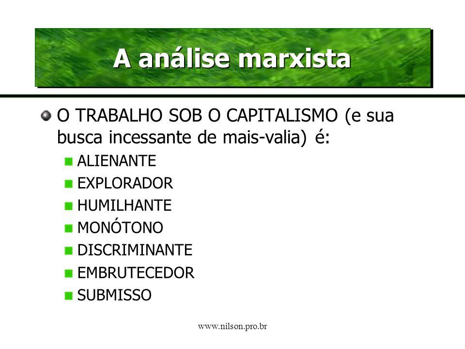 A análise marxista O TRABALHO SOB O CAPITALISMO (e sua busca incessante de mais-valia) é: ALIENANTE.