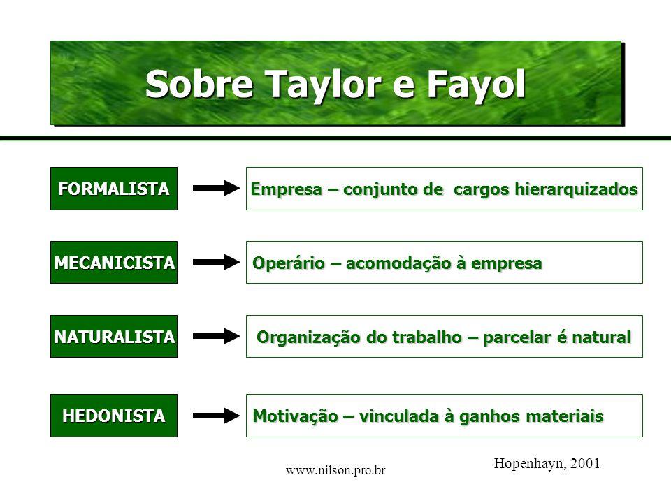 Sobre Taylor e Fayol FORMALISTA