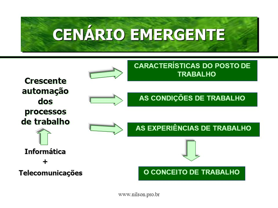 CENÁRIO EMERGENTE Crescente automação dos processos de trabalho