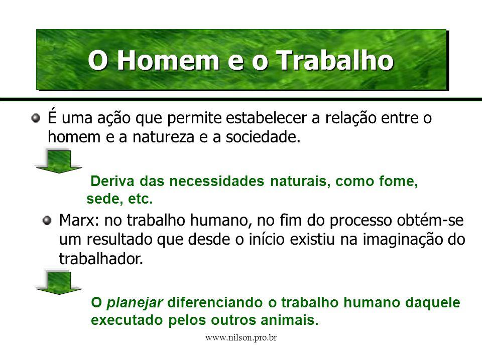 O Homem e o Trabalho É uma ação que permite estabelecer a relação entre o homem e a natureza e a sociedade.