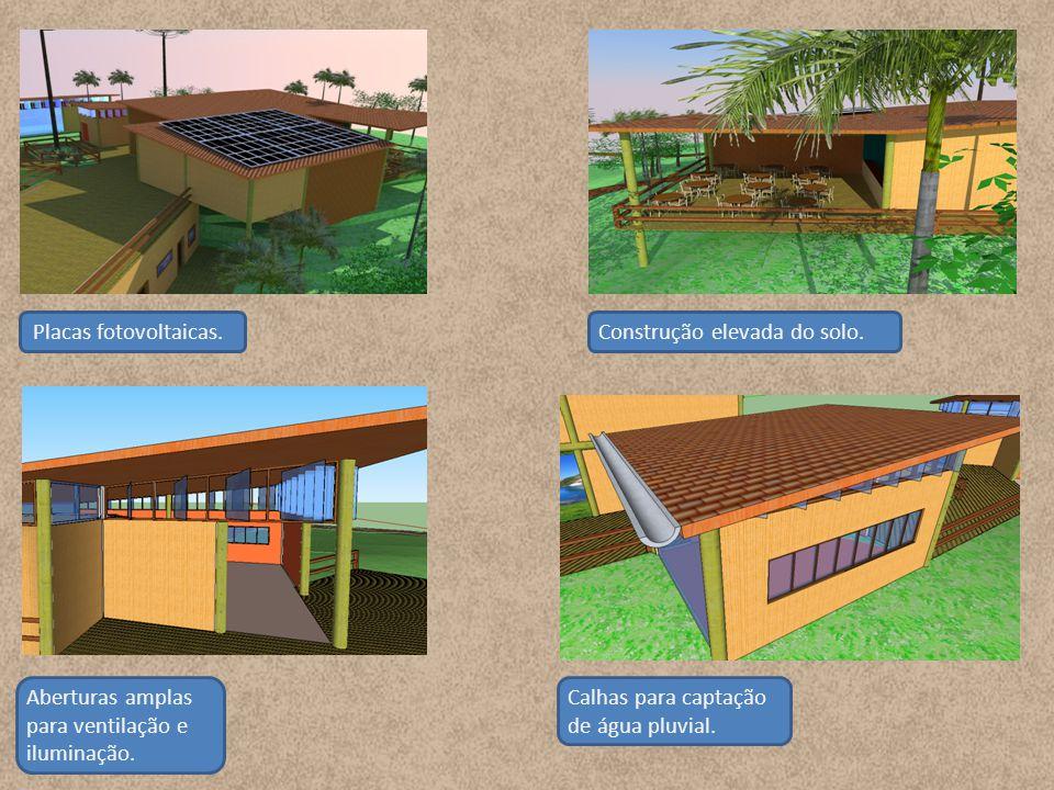 Placas fotovoltaicas. Construção elevada do solo.