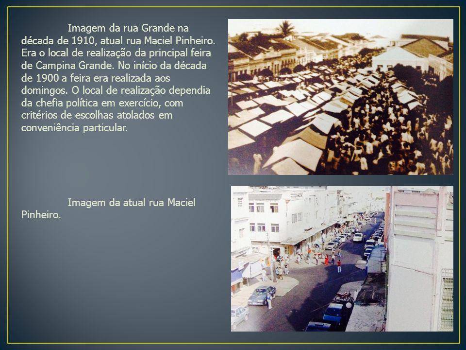 Imagem da rua Grande na década de 1910, atual rua Maciel Pinheiro