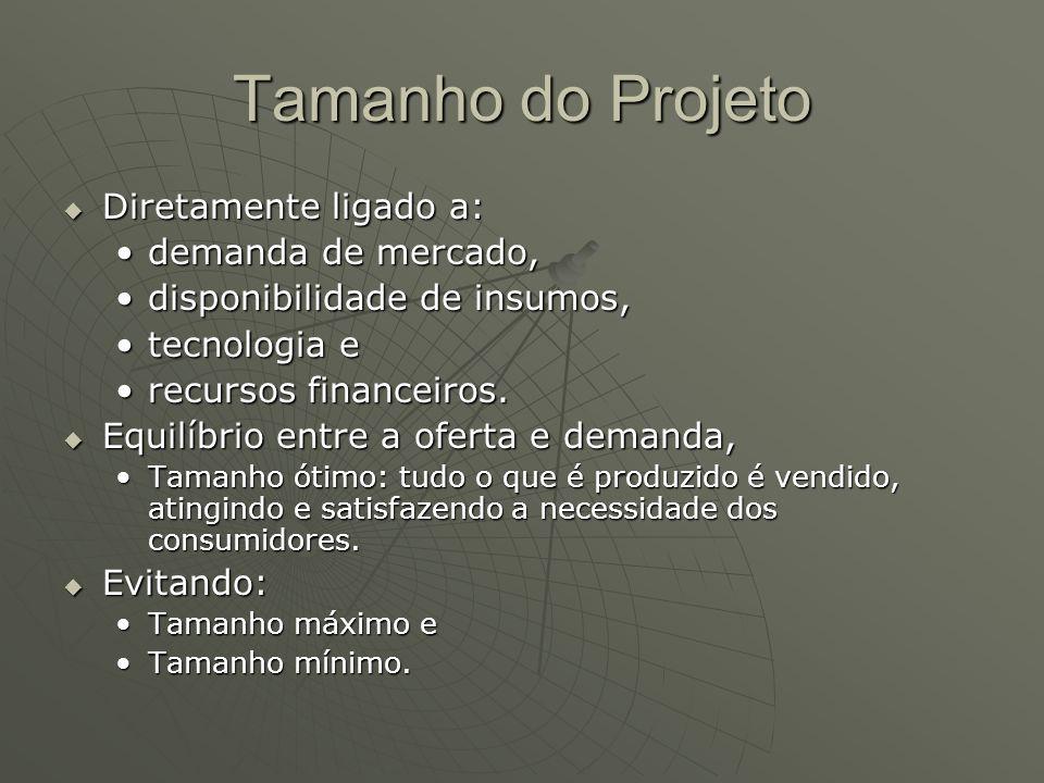 Tamanho do Projeto Diretamente ligado a: demanda de mercado,