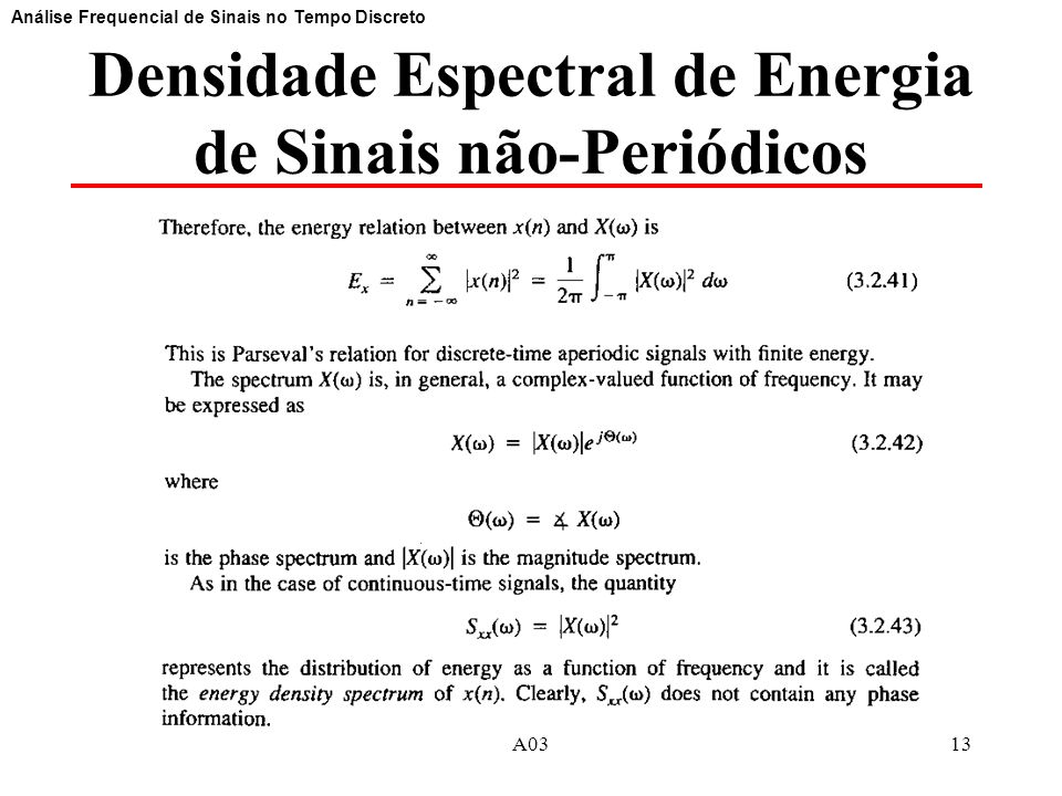 Densidade Espectral de Energia de Sinais não-Periódicos