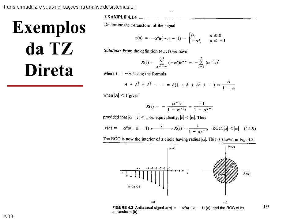 Exemplos da TZ Direta A03 A03