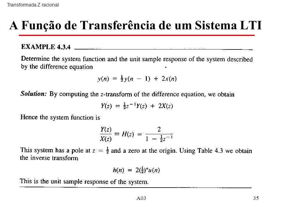 A Função de Transferência de um Sistema LTI