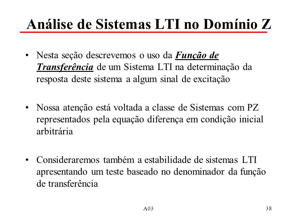 Análise de Sistemas LTI no Domínio Z