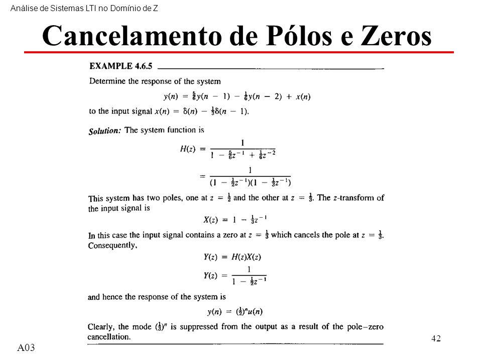 Cancelamento de Pólos e Zeros