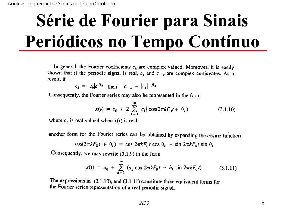 Série de Fourier para Sinais Periódicos no Tempo Contínuo